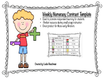 Weekly Numeracy Contract Template