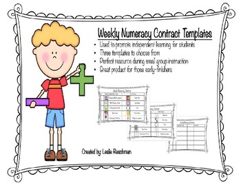Weekly Numeracy Contract Templates