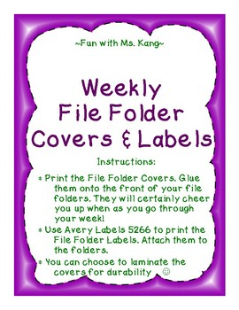 Weekly Organization File Folder Covers & Labels