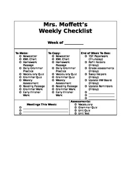Weekly Organization Teacher Checklist (editable)