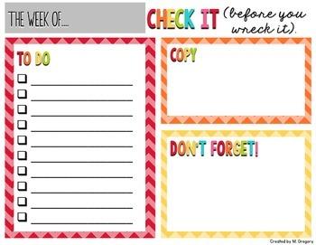 Weekly Organizational Forms FREEBIE
