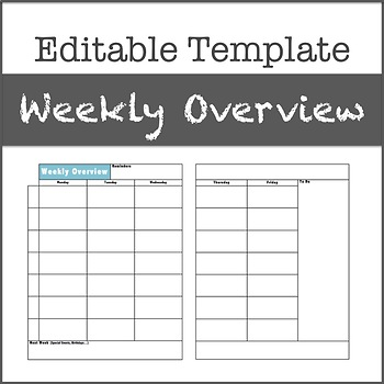 Weekly Overview, Editable