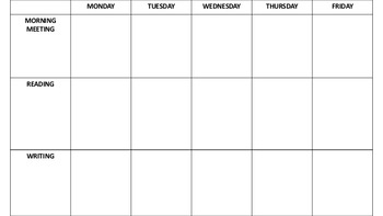 Weekly Overview Lesson Plan Template