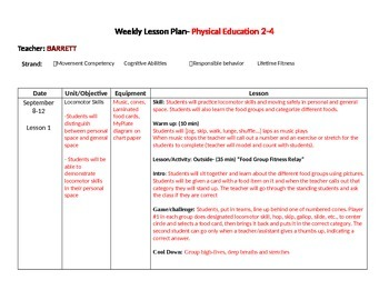 Weekly PE lesson plans Sept-Oct