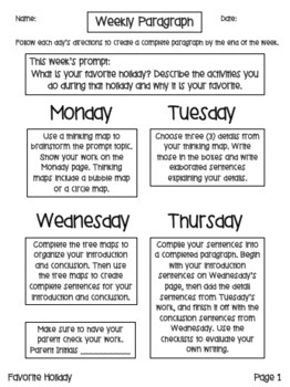Weekly Paragraphs