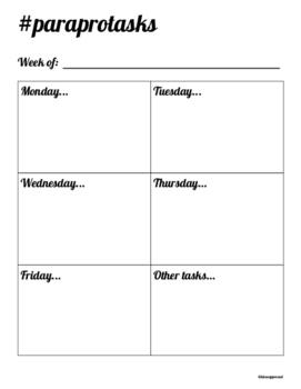 Weekly Paraprofessional Tasks