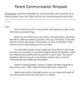 Weekly Parent Communication Template