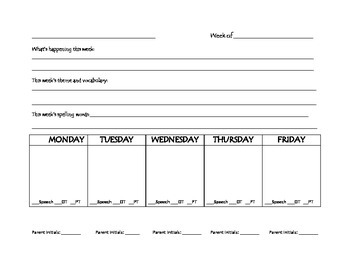 Weekly Parent Contact Page for Resource Room