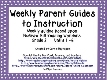 Weekly Parent Guides to Instruction - Reading Wonders - Grade 2 - Units 1-6
