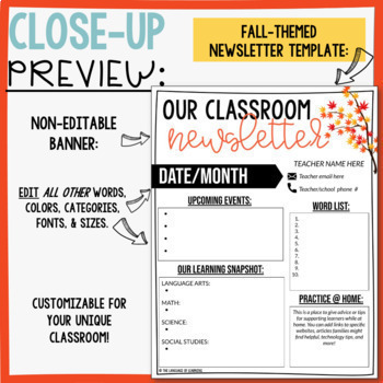 Weekly/Monthly Parent Classroom Newsletter - EDITABLE - Seasonal Themes