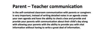 Weekly Parent/Teacher Communication