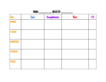 Weekly Participation/Goals Chart