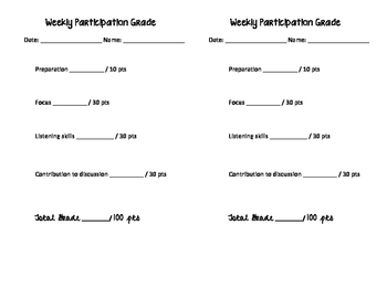 Weekly Participation Grading Sheets