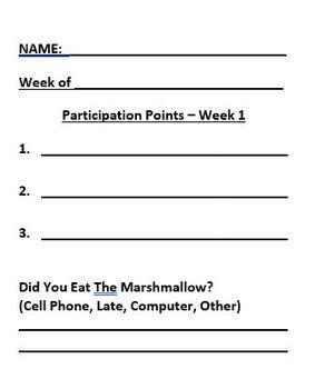 Weekly Participation Rubric (Points)