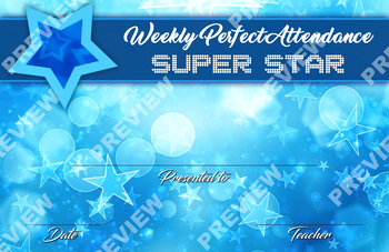 Weekly Perfect Attendance Certificate - Blue Style