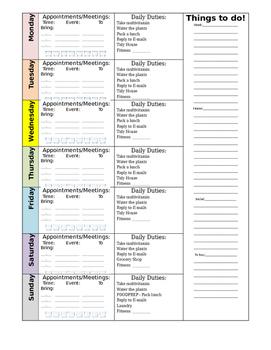 Weekly Personal Calendar/Planner