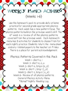 Weekly Phonics Menus 2nd Grade (Weeks 1-6)