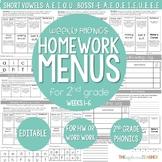 Weekly Phonics Menus 2nd Grade (Weeks 1-6)
