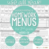Phonics Activities for 2nd Grade-Weekly HW or Word Work Bundle