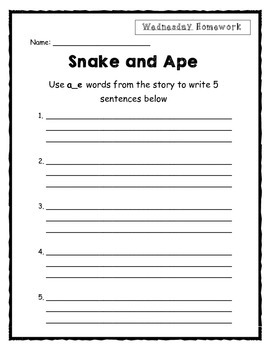 "Weekly Phonics Homework: Long ""a"" sound using a_e pattern"