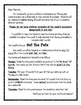 "Weekly Phonics Homework: Short ""e"" Sound"