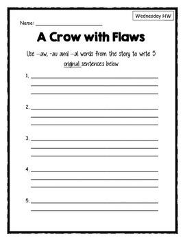 Weekly Phonics Homework: -aw, -au pattern