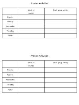 Weekly Phonics Planner