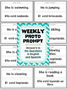 Bilingual Weekly Photo Prompt: 30 Actions  in English & Spanish
