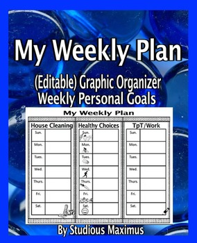 FREE Weekly Planner - Personal Goals. Editable Graphic Organizers.