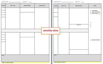 Weekly Plan Template - in Yellow & Grey