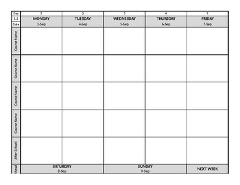 Weekly Planbook Template