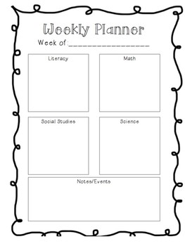 Week At A Glance Planning Page!
