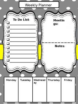 Weekly Planner Binder Insert