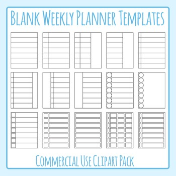 Weekly Planner Blank Templates Clip Art for Commercial Use