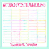 Weekly Planner Blank Watercolor Frames Templates Clip Art for Commercial Use