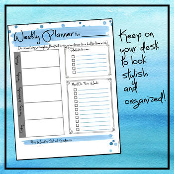 Weekly Planner - Blue Dots Theme Freebie
