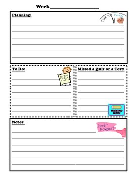 Weekly Planner Cover Page and Sheet
