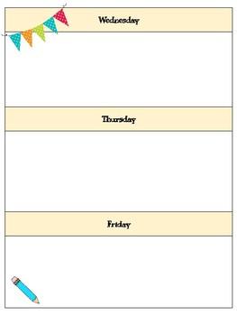 Weekly Planner & Classwork Organizer