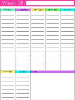 Weekly Planner- Colorful