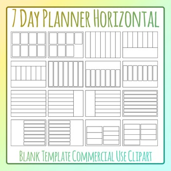 Weekly Planner / Journal Blank Horizontal Templates Clip Art for Commercial Use