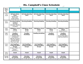 Weekly Planner & Morning/Closing Meeting Suggestions
