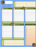 """Weekly Planner Page - Acorn Theme (8.5"""" x 11"""")"""
