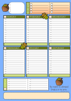 Weekly Planner Page - Acorn Theme (A4 size)