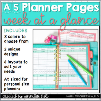 image about A5 Planner Printables identified as Webpages For Sizing A5 Planner Worksheets Coaching Products TpT