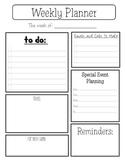 Weekly Planner Sheet