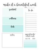 Weekly Planner Sheet l Mint Ombre Planning/Weekly Goals