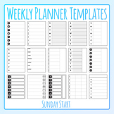 Weekly Planner Sunday Start Templates Clip Art for Commercial Use