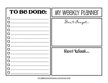 Weekly Planner To Do List - Black and White Version