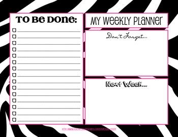 Weekly Planner To Do List - Zebra