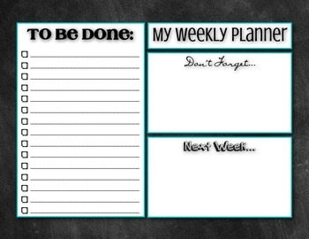 Weekly Planner To Do List - Chalkboard